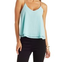 Mint Green Chain-Strap Chiffon Tank Top by Charlotte Russe