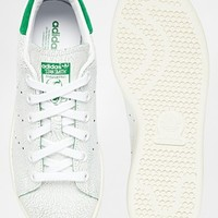 Adidas Originals White & Green Stan Smith Cracked Leather Sneakers