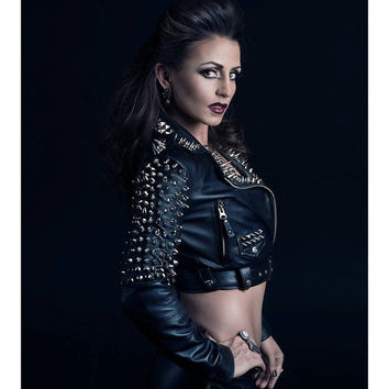 Spiked Leather Jacket with Cropped Motorcycle Fit Punk Metal Moto Biker Pin Up