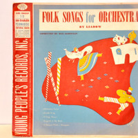 "Vintage Young People's Records 'Folk Songs for Orchestra' by Liadow. 1949 Children's 78 RPM. Red and Blue Album Art.10"" Retro Record No 405."