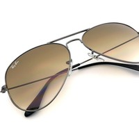 Cheap *New* Ray-Ban Aviator Gunmetal Frame Brown Gradient Lenses RB3025 004/51 58MM outlet