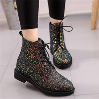 Designers Brand Women Ankle Boots Heels Female Shoes Woman Autumn Glitter Lace up Boots Casual Pink Black White