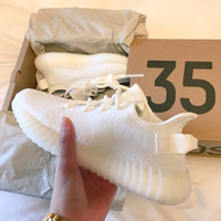 "Fashion ""Adidas"" Yeezy Boost Solid color Leisure Sports shoes white"