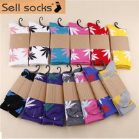 5pair/lot 23 Colors Plantlife Style Weed Socks Men's Skateboard Cotton Calcetines Sport Socks Hip Hop women Free Shipping