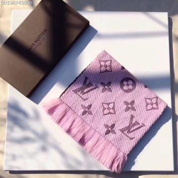 LV Louis Vuitton Stylish Unisex Personality Cashmere Winter Warm Cape Scarf Scarves Pink I