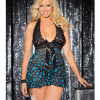 Sheer & Lace Babydoll W-bow & Polka Dots Turquoise-black 3x-4x