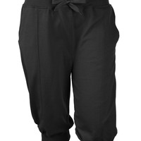 LE3NO Mens Casual Solid Terry Cloth Jogger Capri Pants with Pockets (CLEARANCE)