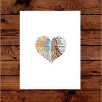 Map Art   Personalized Map Art   Valentines Day Gift   Travel Map   Heart Map Decor   Wedding Gift   State to State   Long Distance Gift