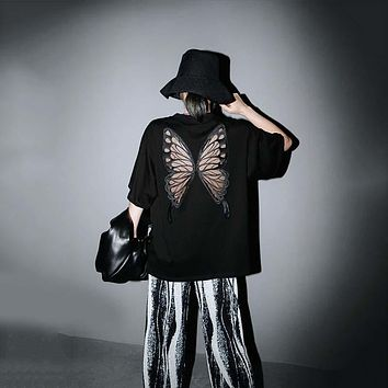 Taru Back Mesh Wings Long Shirt - Black