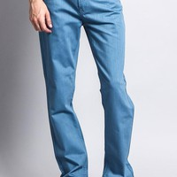 Men's Slim Fit Colored Denim Jeans (French Blue)