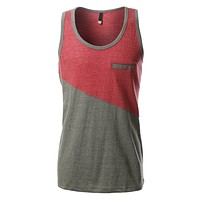 Mens Casual Crewneck Color Block Sleeveless Tank Top (CLEARANCE)