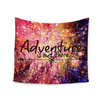 """Ebi Emporium """"Adventure is Out There"""" Pink Typography Wall Tapestry"""