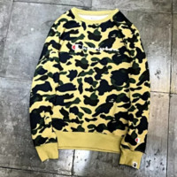 Champion & Bape Aape New fashion bust letter print and back print camouflage couple long sleeve top sweater Yellow