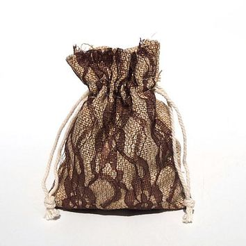 Faux Burlap Bags Lace Overlay, 4-Inch x 5-Inch, 6-Piece, Brown