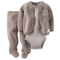 Carter's Boys 3 Piece Grey Terry Cardigan with Pocket, Footed Pant and Striped Short Sleeve Bodysuit