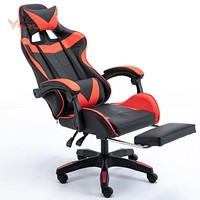 WCG Chair Mesh Computer Chair Gaming Chair Lacework Office Chair Lying and Lifting Staff Armchair with Footrest Reclining Chair