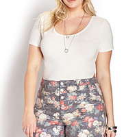 Fantasy Floral High-Waisted Shorts