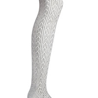 FOREVER 21 Cable Knit Over-The-Knee Socks Grey One