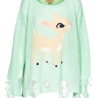 WILDFOX Little Helper Lennon Teal Oversized sweater in destroyed look - What's new