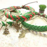 Handmade Friendship Bracelet with X'mas Charms