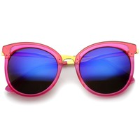 Womens Round Oversized Translucent High Temple Color Mirrored Lens Cat Eye Sunglasses
