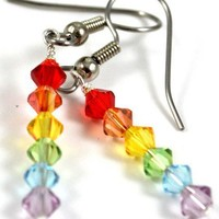 Swarovski Crystal Rainbow Pride Dangle Earrings