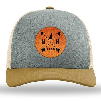 New Hampshire State Arrows - Leather Patch Trucker Hat