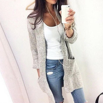Loose Solid Color Pocket Long Sleeve Cardigan Jacket Coat