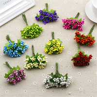 Cheap 10pcs Plastic Artificial  Stamen Flowers Bouquet For Wedding Decoration Scrapbooking Decorative Garland Fake Flowers
