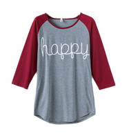 Women Spring Autumn Tops Long Sleeve O-neck Lady T-Shirt Happy Letter Printed Shirt Women Casual Clothing Plus Size S-XXXL LM93