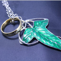 The Lord of the Rings Necklace With Demon Legolas Green Leaf brooch necklace