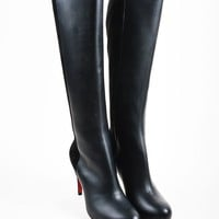 KUYOU Black Christian Louboutin Leather Suede Knee  Acheval 85  Boots