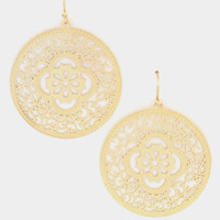Floral Filigree Round Dangle Earring - Gold