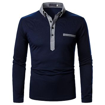 Men's Two-color Lapel Long-sleeved Shirts