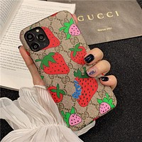 GG Strawberry Print iPhone 7/8/11/XS Phone Case Cover