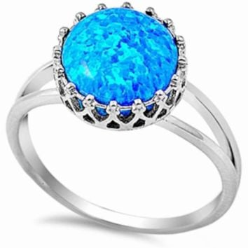 .925 Sterling Silver Blue Fire Opal Crown Ladies Ring Size 4-10 Tiara Princess Solitaire