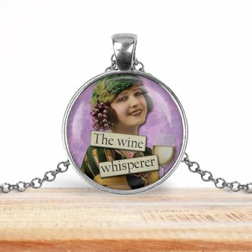 The wine whisperer, wine lover pendant necklace, choice of silver or bronze, key ring option