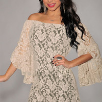 Bell Sleeve Off Shoulder Floral Mesh Lace Mini Dress