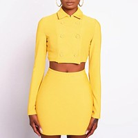 New fashion solid color long sleeve top and skirt two piece suit women Yellow