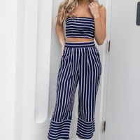 Last Word Navy Striped Set