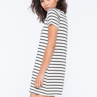 Socialite Striped Womens T-Shirt Dress White/Black  In Sizes