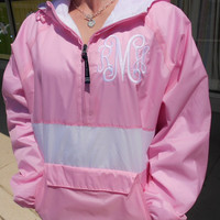 Windbreaker Pullover Striped  Font Shown  Font by MONOGRAMSINC