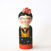 Frida Kahlo doll - Peg doll art - Hand painted wooden doll miniature collectible art toy