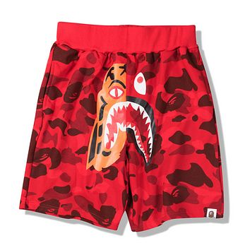 Bape Aape Summer Fashion New Tiger Shark Print Camouflage Women Men Shorts Red