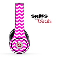 Hot Pink and White Chevron Pattern Skin for the Beats by Dre Solo, Studio, Wireless, Pro or Mixr