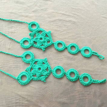 Ethnic Anklet Bracelet Crochet Barefoot Sandals Foot Jewelry Accessory Gift-06
