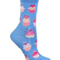 Sky Blue Sweetheart Cupcakes Socks (Women's)