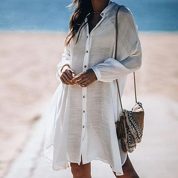 Women Swimsuit Cover Ups Sexy Tunic  Summer Robe Solid Cotton Pareo Beach Cover Up