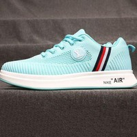 Gotopfashion LV Shoes Nike Air Sports Shoes Louis Vuitton Sports Shoes Jointly breathable running shoes Stripe Light Blue