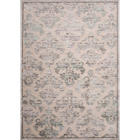 Contemporary Damask Pattern Ivory/Gray Rayon and Chenille Area Rug (2x3)